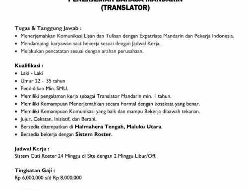 Lowongan Mandarin_Penerjemah Di Maluku