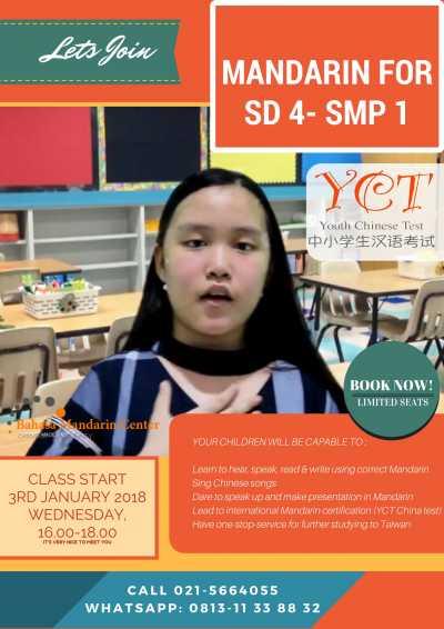 kursus mandarin anak BMC, start 3 Januari 2018