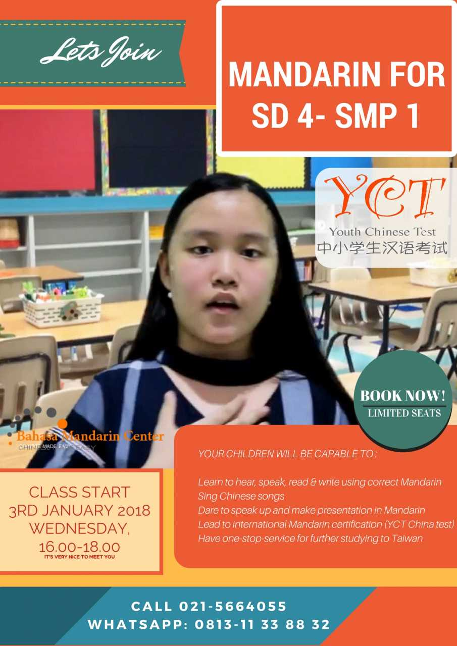 kursus mandarin anak BMC, start 3 Januari 2018