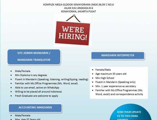 Lowongan Mandarin Interpreter & Accounting